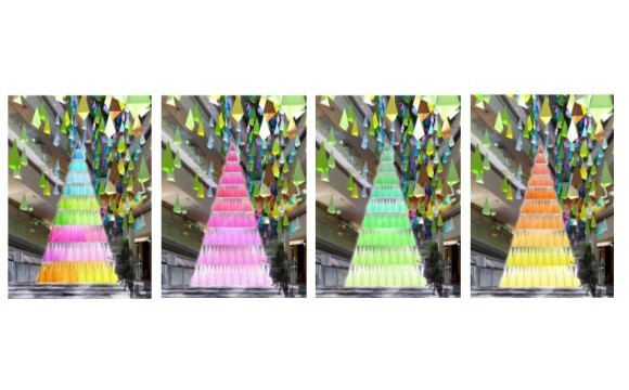 色彩繽紛的樹替表參道hills增添色彩「100種顏色的聖誕樹之森」登場 在原宿、表參道、表參道hills、