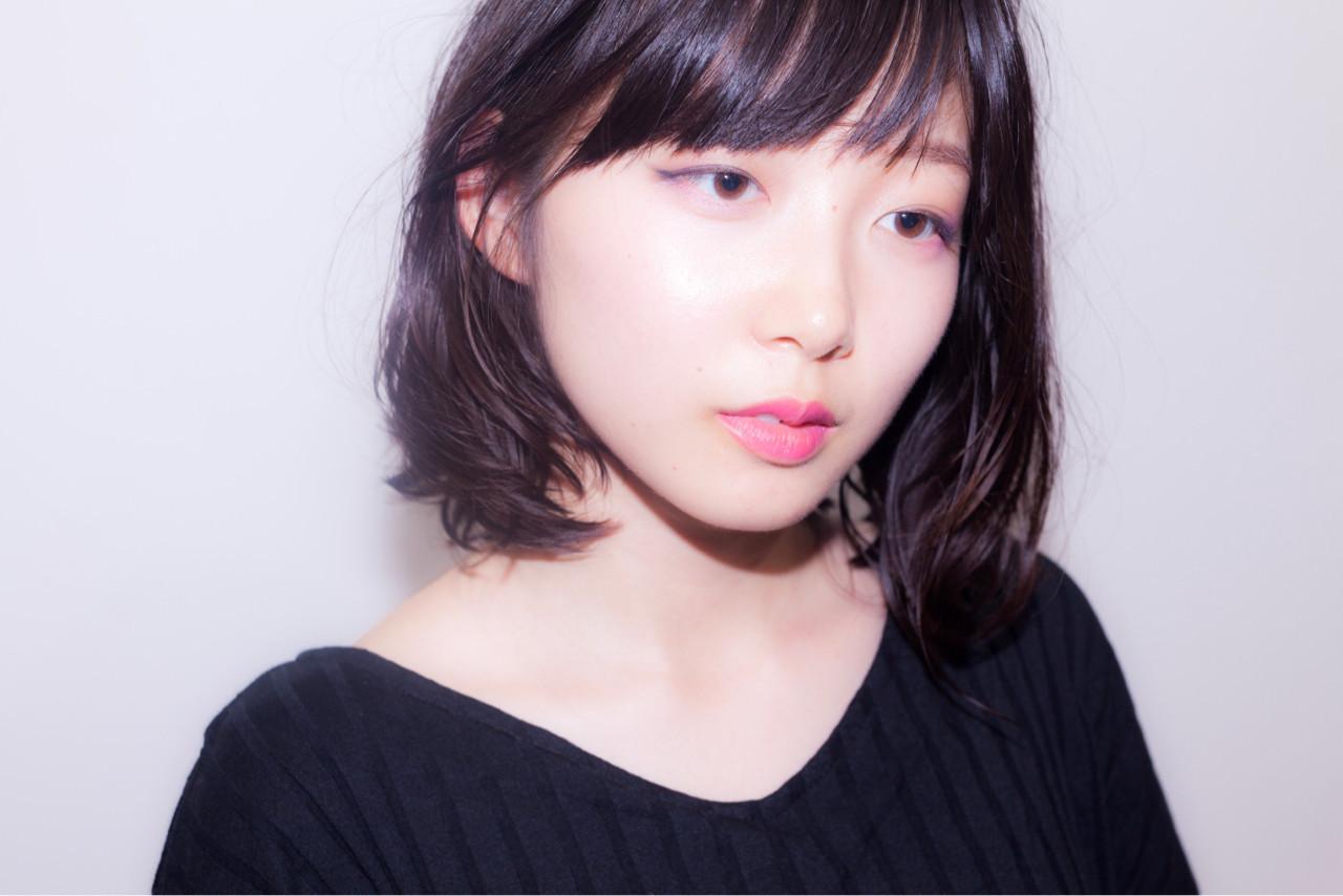 斜瀏海×塞耳後,營造女人味印象♡ 中村真一 | hair make No.8 宮崎市