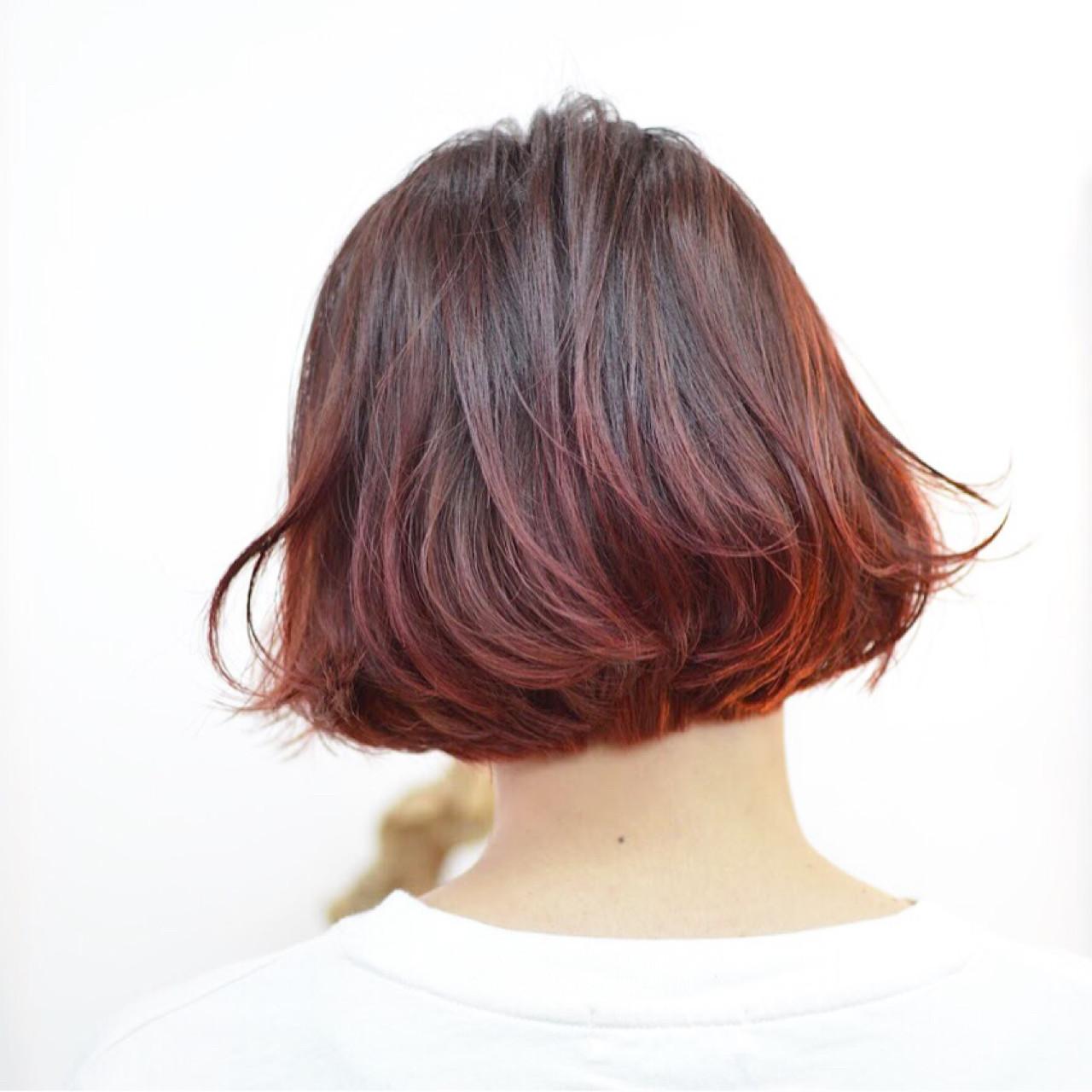 レッド・ピンク・パープル系カラー・ボブ Akane Ueda