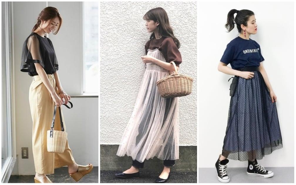 大熱天的穿搭瓶頸,日本女生用透膚薄紗來解決