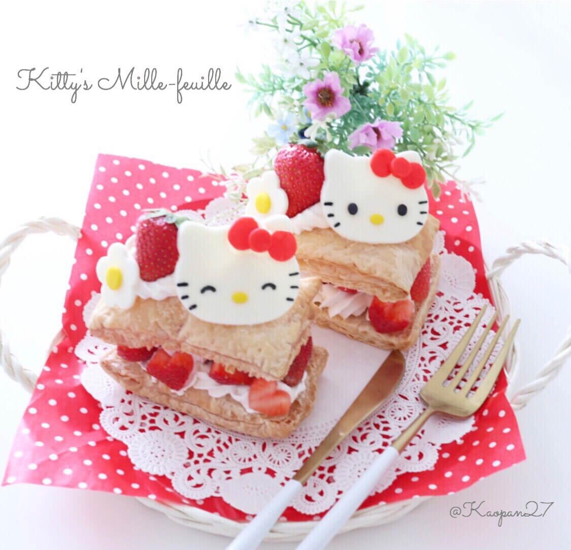 """超簡單的""""角色甜點""""食譜介紹!""""Kitty法式千層酥"""" 凱蒂猫、食譜、"""