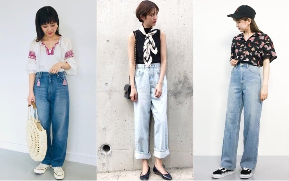 日本女生不用露腿的夏日時尚!先學會牛仔寬褲的百變穿搭法