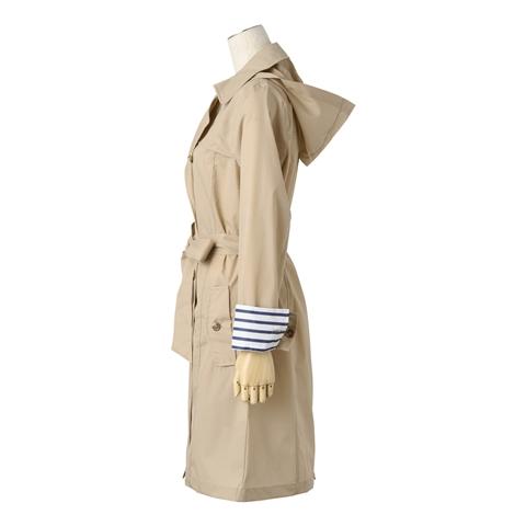 Francfranc雨具介紹雨傘雨衣雨天用品風衣型雨衣米色側面
