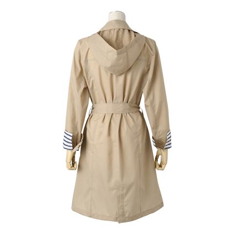 Francfranc雨具介紹雨傘雨衣雨天用品風衣型雨衣米色背面