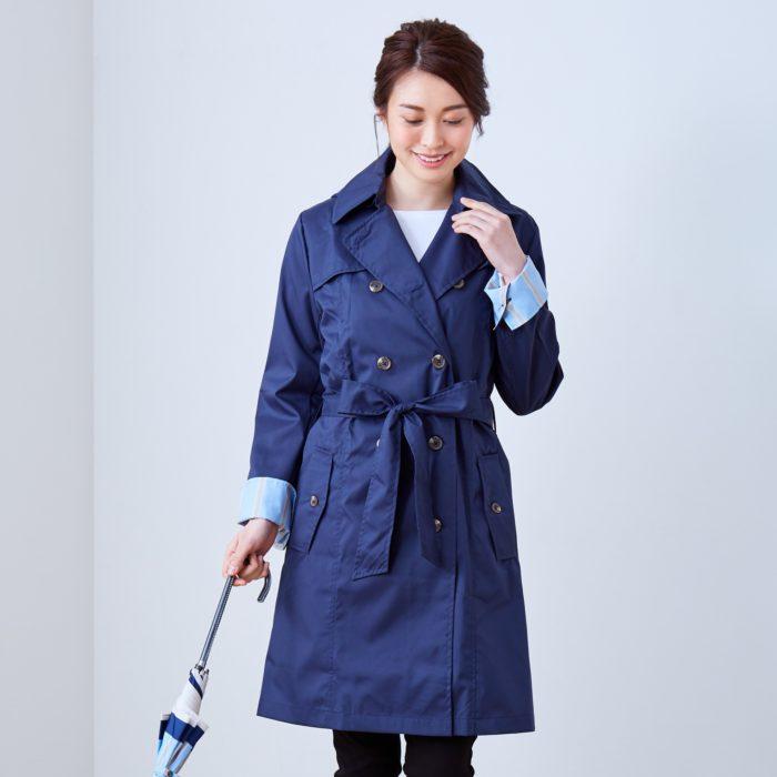 Francfranc雨具介紹雨傘雨衣雨天用品風衣型雨衣藍色
