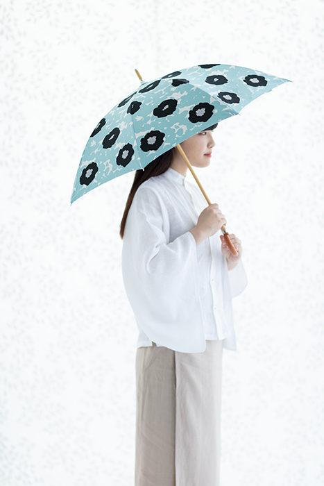 sousou布moonbat傘晴雨二用日傘長傘-藍-撐傘樣