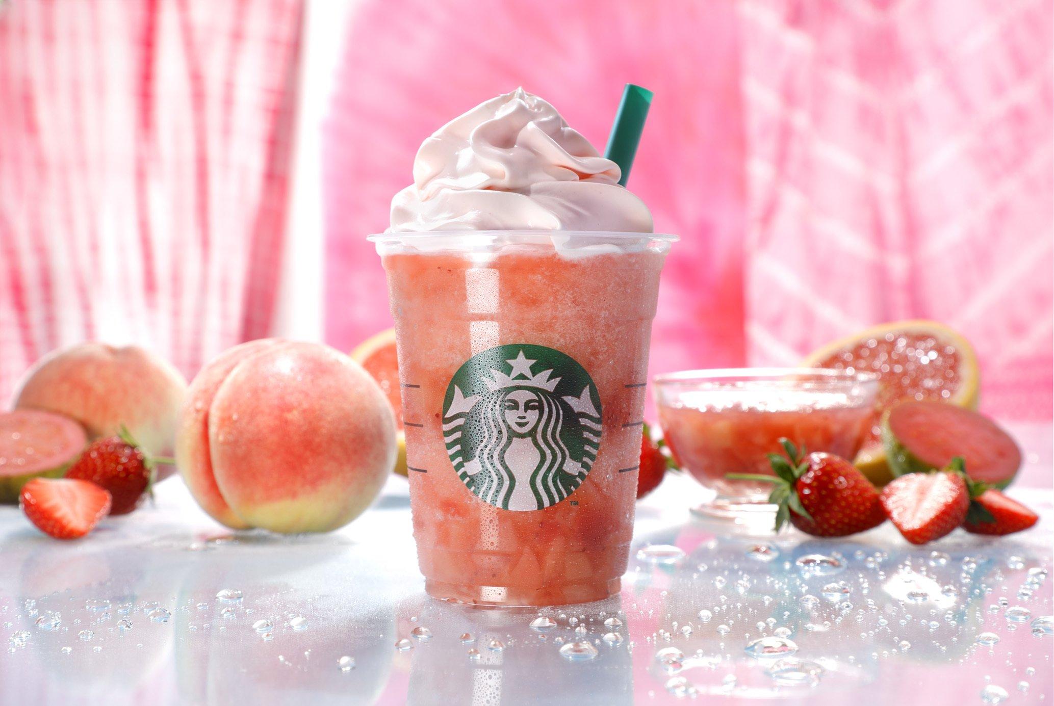 星巴克蜜桃粉紅水果星冰樂