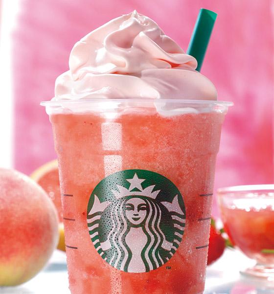 星巴克蜜桃粉紅水果星冰樂近照