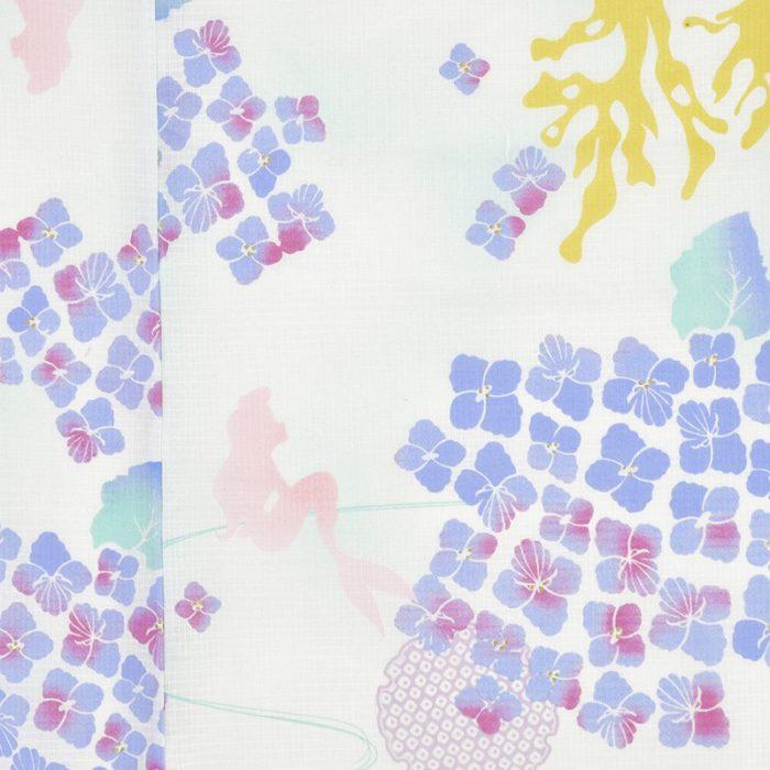 日本迪士尼網路商店浴衣特輯公主系列浴衣小美人魚白色紫陽花繡球花浴衣圖案近照