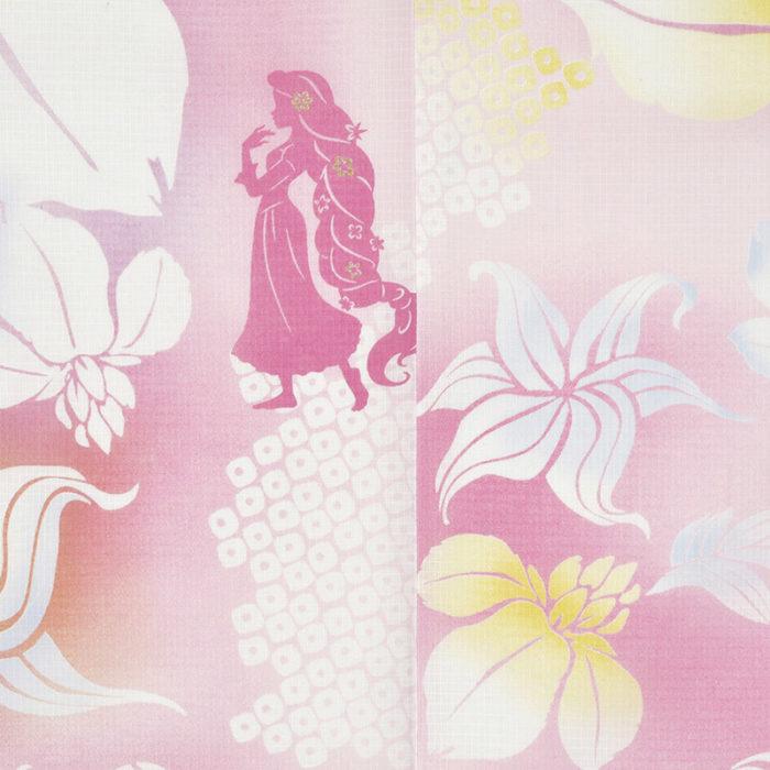 日本迪士尼網路商店浴衣特輯公主系列浴衣長髮公主粉色菖蒲浴衣圖案近照