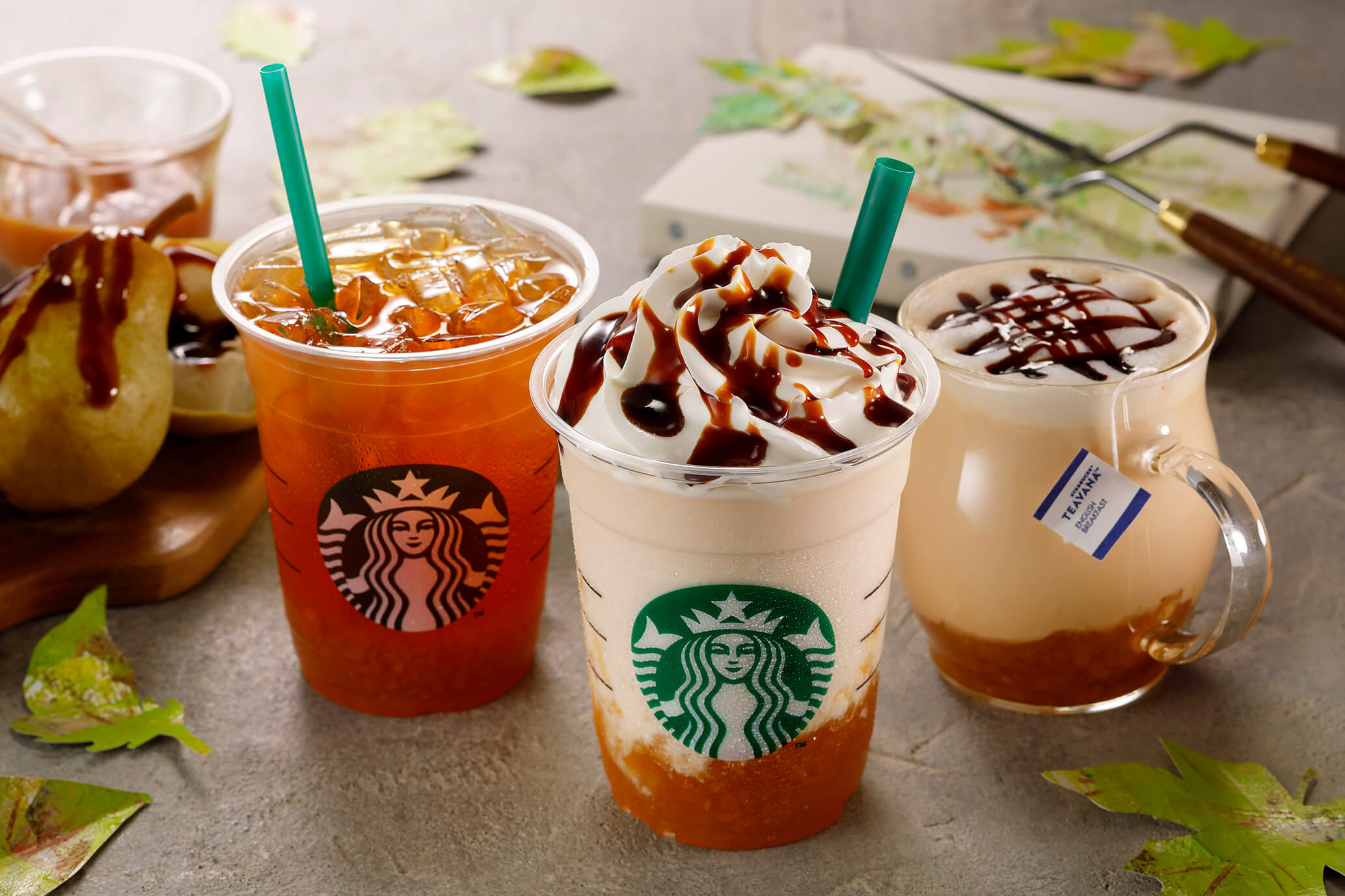 """享受秋季風味的""""Artful Autumn @ Starbucks®""""系列推出「焦糖西洋梨星冰樂」等3項商品登場 星巴克、"""