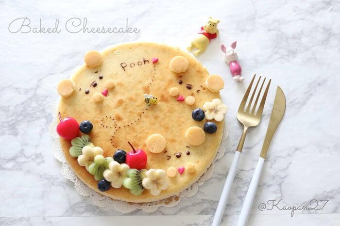 """超簡單的""""角色甜點""""食譜介紹!""""小熊維尼烤起士蛋糕"""" 小熊維尼、甜點、食譜、"""