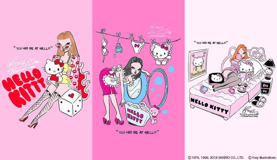 Hello Kitty與人氣插畫家foxy illustrations的合作商品於大阪阿倍野109登場 凱蒂猫、