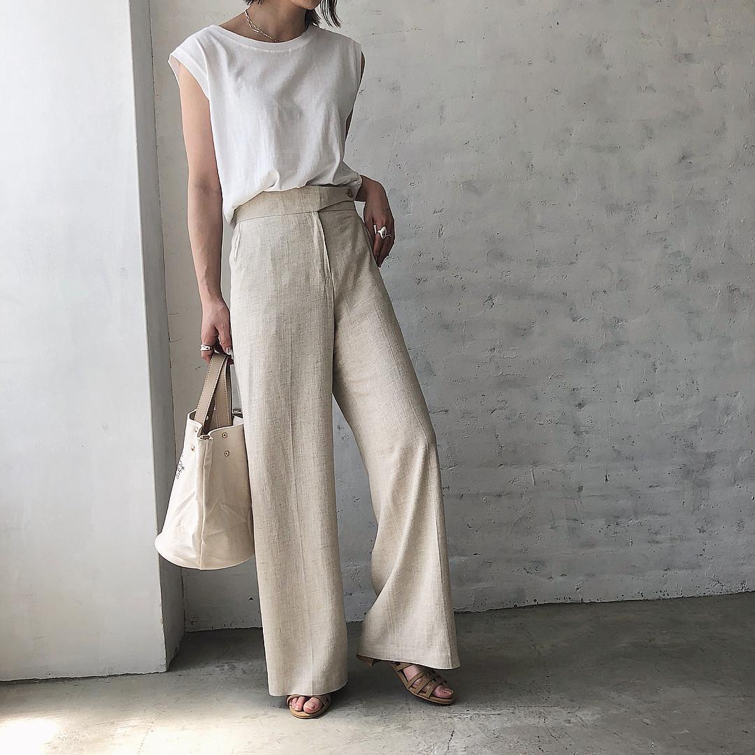 米白色寬褲穿搭