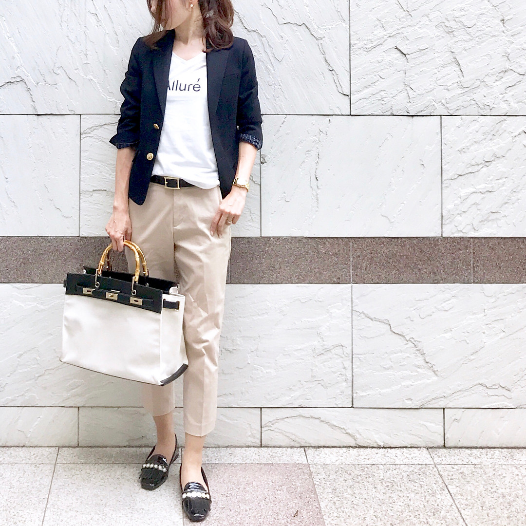 米白色七分褲