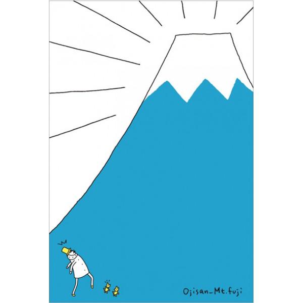 河口湖郵局限定明信片歐吉桑富士山
