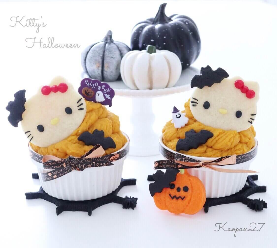 輕鬆製作出卡通甜點!「Kitty的南瓜蒙布朗」♡ 凱蒂猫、甜點、食譜、