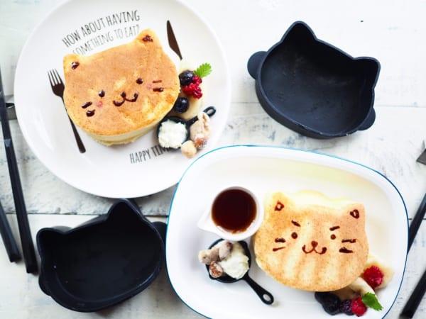 百元商店簡單厚鬆餅模型 貓咪形狀