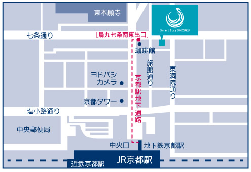 smart stay SHIZUKU京都駅前 kyoto ekimae 雫井膠囊旅館地圖