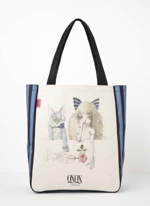 猫と少女のトートバッグ