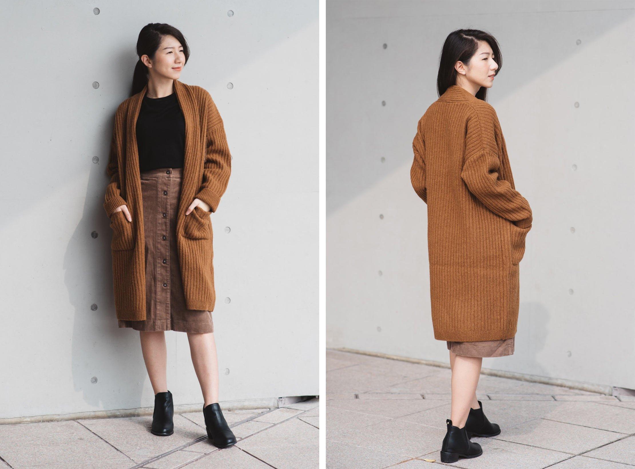 羊毛羅紋針織大衣1