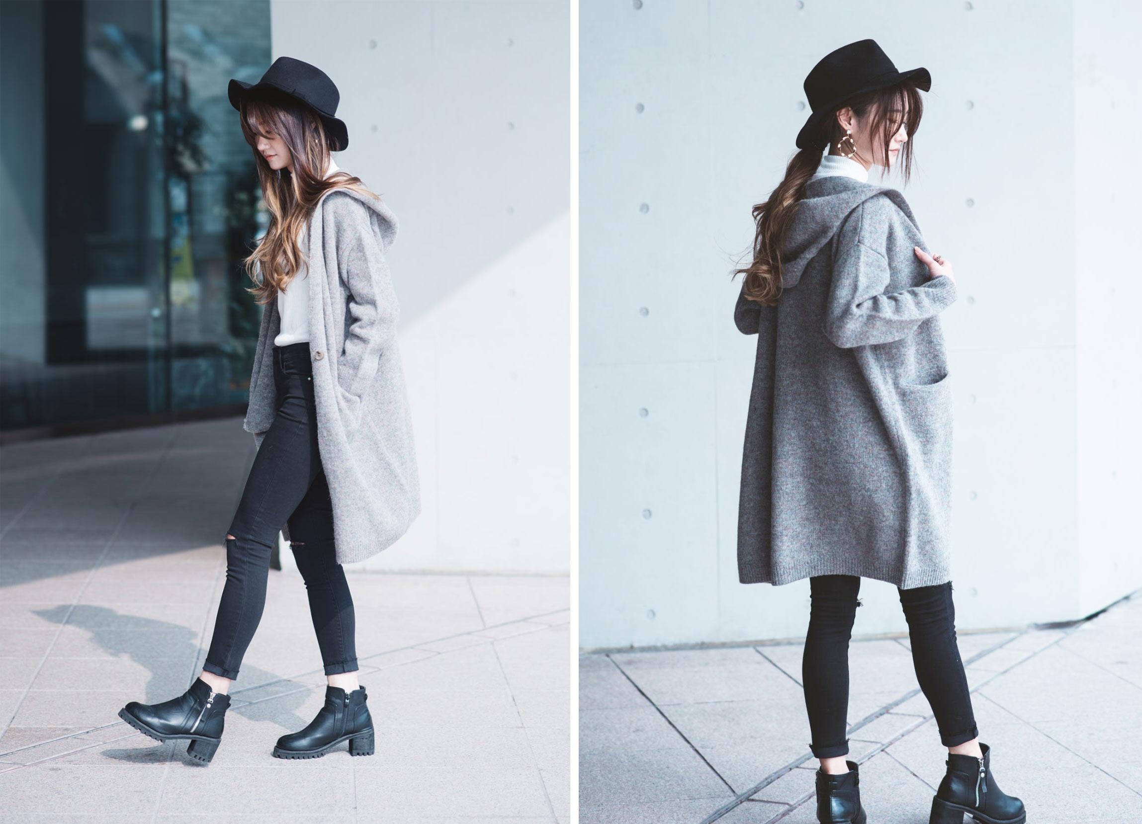 羊毛混紡針織連帽大衣1