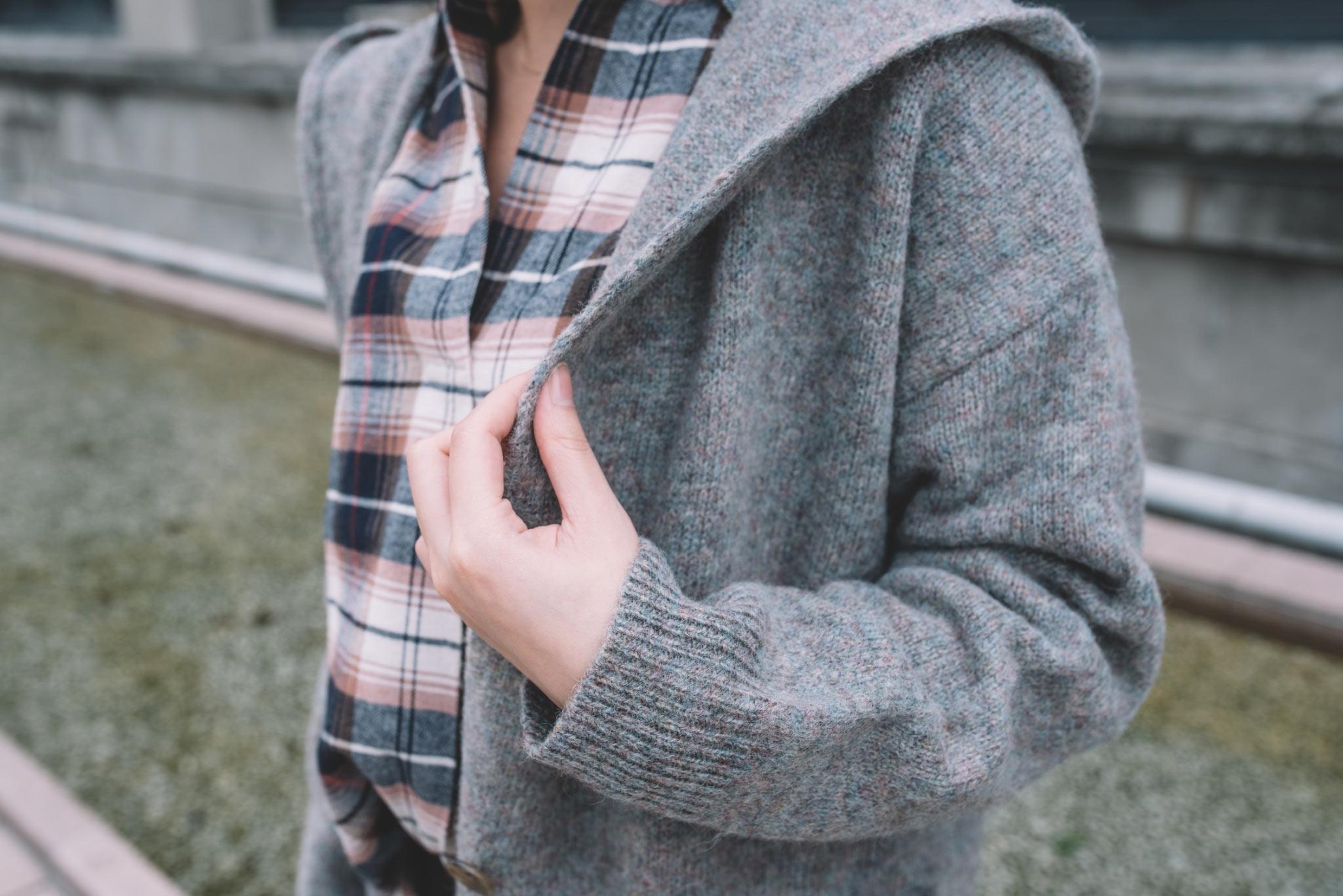 羊毛混紡針織連帽大衣3
