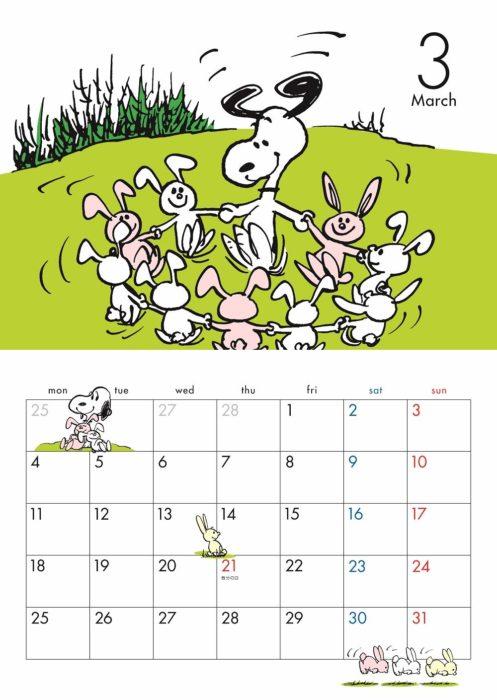 SNOOPY 2019月曆內頁