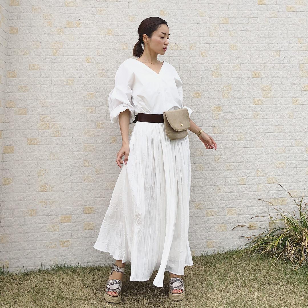 白色襯衣×白色長裙,讓妳清純感UP! kusayuu