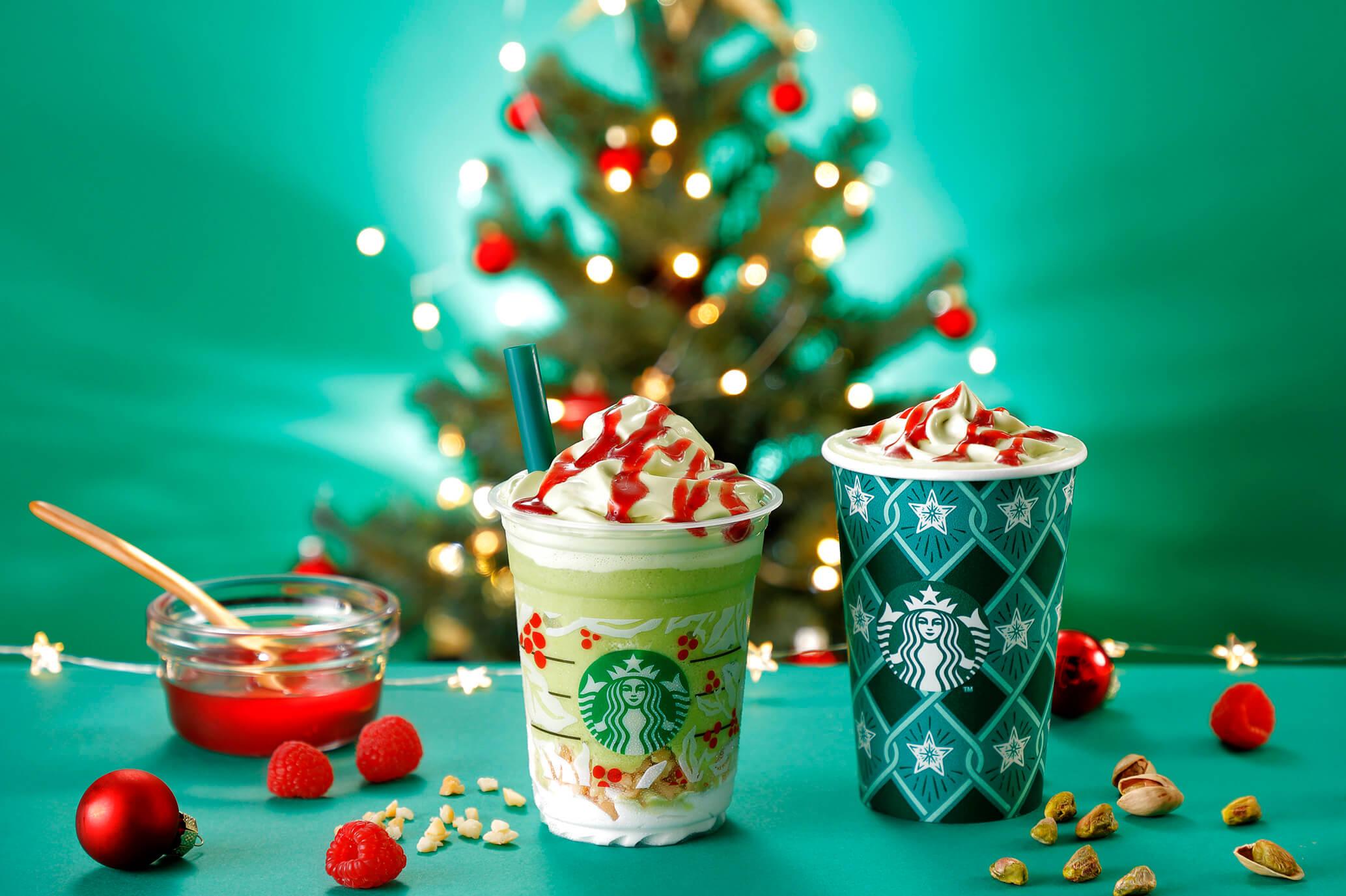 星巴克假期限定飲品 以「聖誕樹」為概念設計的星冰樂登場 星巴克、聖誕節、