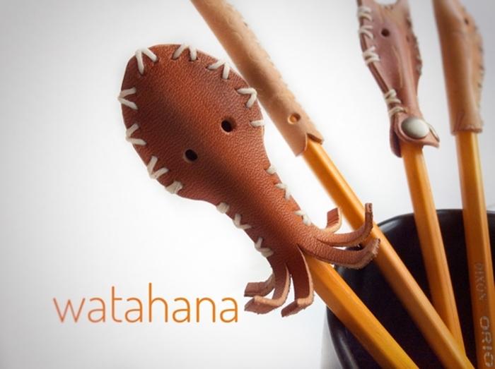日本文具章魚皮革筆蓋