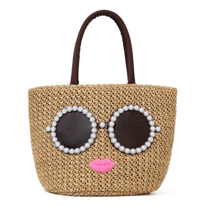 咖啡色版墨鏡女孩編織包