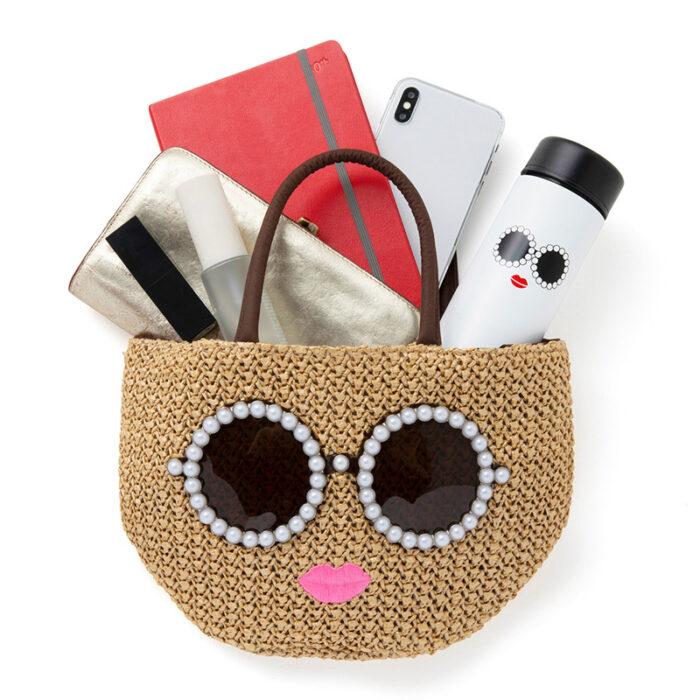 咖啡色版墨鏡女孩編織包容量